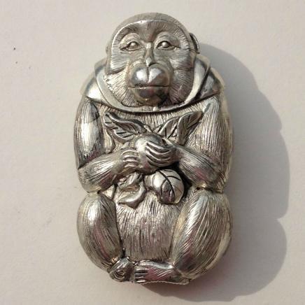Oriental Silver Plate Monkey Vesta