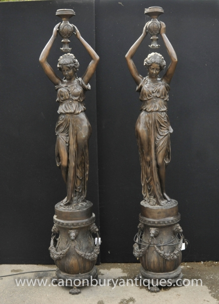 Pair 7ft Big French Bronze Female Lamps Torcheres Architectural