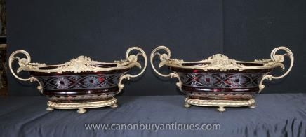 Pair Cut Glass Empire Tureens Dishes Boaters Urns Louis XV French Glassware
