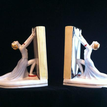 Pair Elegant Art Deco Porcelain Library Book Ends