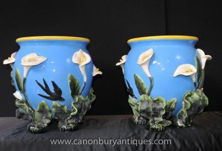 Pair English Majolica Minton Porcelain Planters Pots Bowls Maiolica Pottery