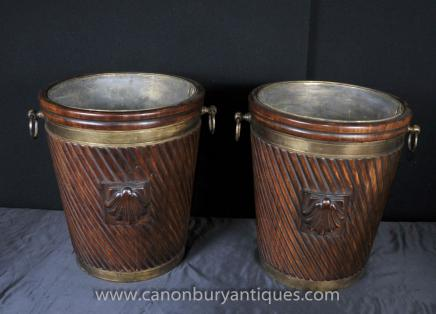 Pair English Victorian Peat Buckets Planters Mahogany Urns Brass