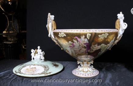 Pair German Dresden Tureens on Stands Lidded Urns Plates