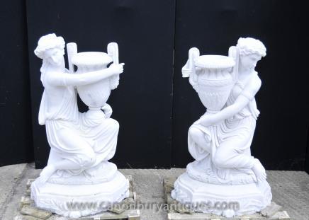 Pair Italian Marble Maiden Statue Garden Urns Lifesize Sculpture
