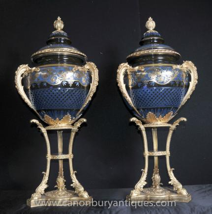 Pair Large Imperial Russian Cut Glass Urns on Stands Jardinier Vases