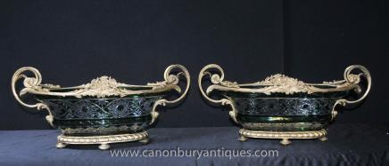Pair Louis XV Cut Glass Ormolu Tureens Vases Bowl Dishes