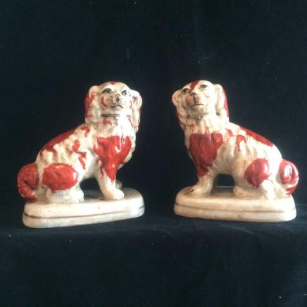 Pair Porcelain Staffordshire Spaniel Dogs