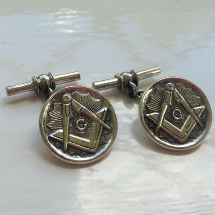 Pair Silver Masonic Cufflinks