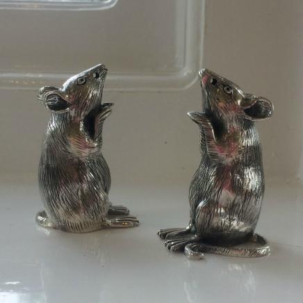 Pair Solid Silver Mice Salt and Pepper Shakers