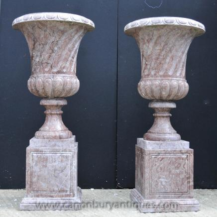 Pair XL English Marble Garden Campana Urns Vases Architectural Regency