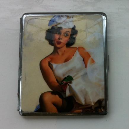 Pictorial Cigarette Case Displaying Lady by Smoking Fire