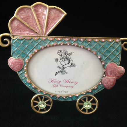 Pink & Blue Enamel Diamonte Baby Pram Photo Frame