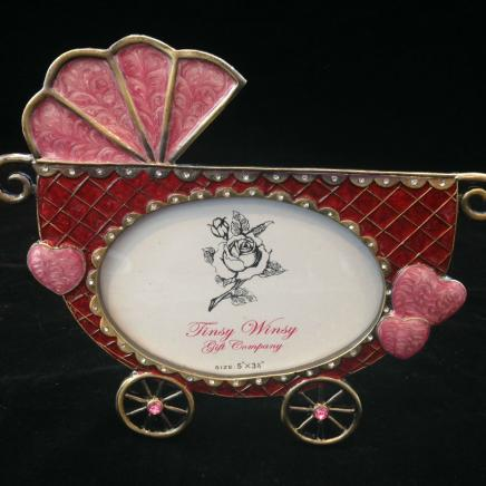 Pink Enamel & Diamonte Baby Pram Photo Frame