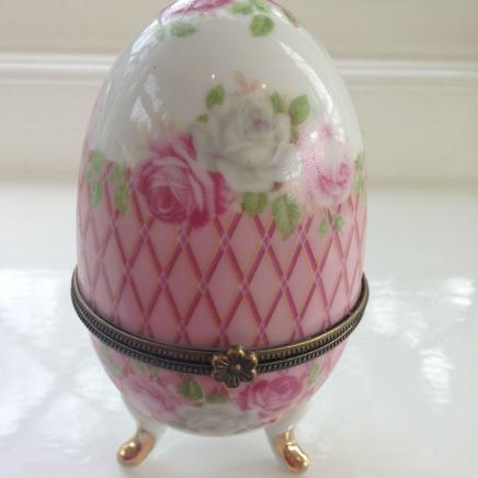 Porcelain Egg Trinket with Rose Detail
