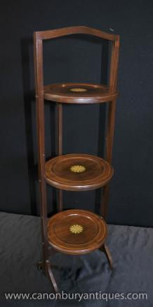 Regency Mahogany Inlay 3 Tiered Cake Stand Side Table