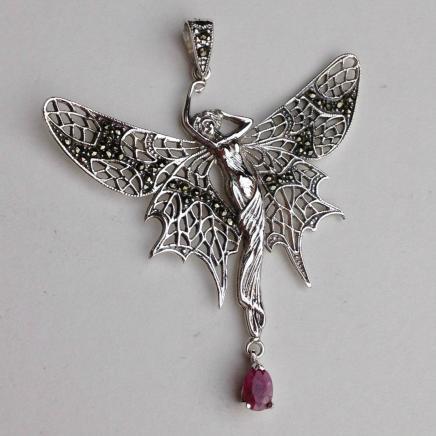 Solid Silver Art Nouveau Fairy Droplet