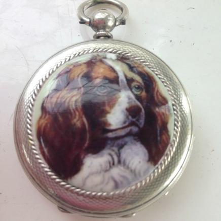 Solid Silver Swiss Pocket Watch with Spaniel Dog