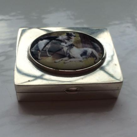 Solid Silver Vinaigrette with Enamel Dogs