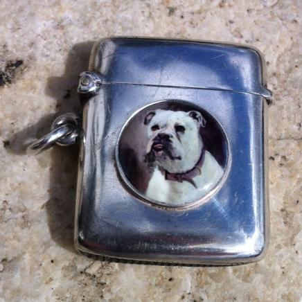 Solid Silver with Enamel British Bull Dog Vesta Case