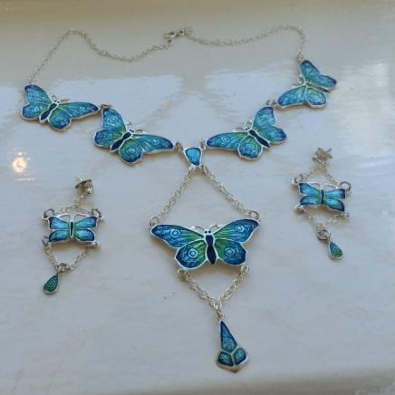 Sterling Silver & Enamel Butterlfy Necklace Earring Set