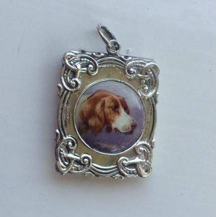 Sterling Silver & Enamel Dog Stamp Holder Pendant