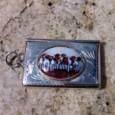 Sterling Silver & Enamel Pack Hounds Stamp Holder Pendant