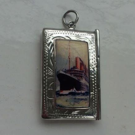 Sterling Silver Ship Stamp Holder Pendant