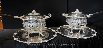 Victorian Silver Plate Food Burner Warmer Dish Bowl Platter Sheffield
