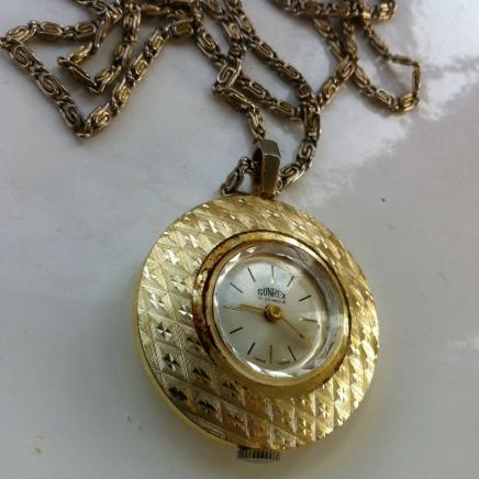 Vintage Swiss Made 'Sunrex' Pendant Watch & Chain