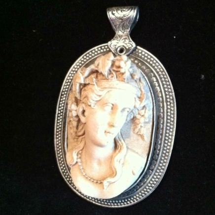 Vulcanite Pendant Depicting Victorian Lady