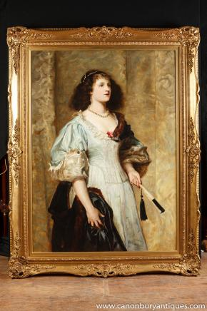 Antique Victorian Oil Painting Lady Duchess Portrait 1860