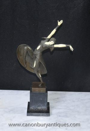 Art Deco Bronze Chiparus Figurine Almeria Statue Dancer
