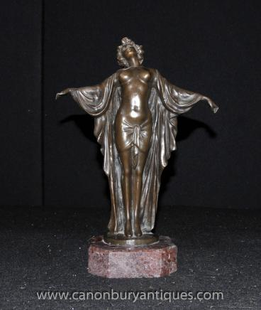 Art Deco Bronze SemiRamis Dancer Figurine Statue Female Nude