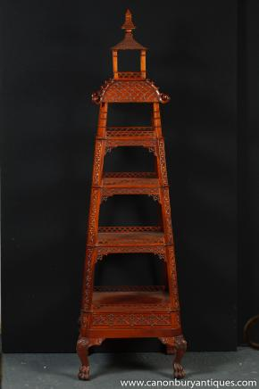 Chinese Chippendale Carved Mahogany Pagoda Shelf Unit Bookcase Stand