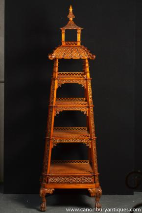 Chinese Chippendale Carved Oak Pagoda Shelf Unit Bookcase Stand