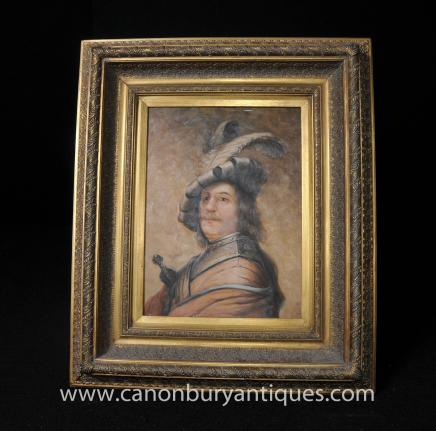 English Oil Painting Portrait Cavalier Noble Horseman Gilt Frame