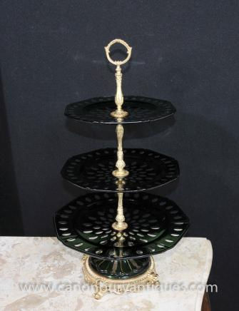 English Victorian Cut Glass Cake Stand Ormolu Tiered Plates