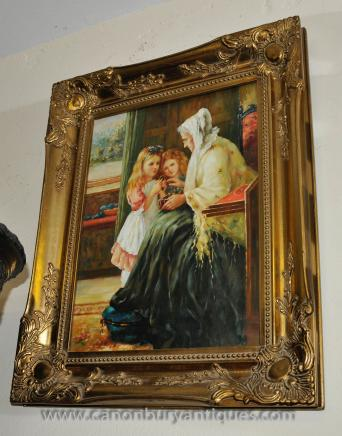 English Victorian Oil Painting Portrait Gilt Frame Art