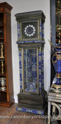 French Antique Grandfather Clock Chinese Origin Cloisonne Champleve