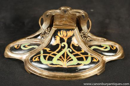 French Art Nouveau Porcelain Inkwell Centrepiece Ormolu