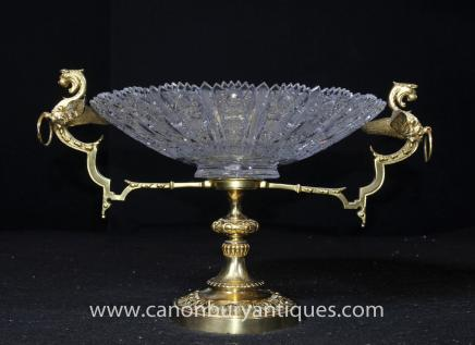 French Empire Cut Glass Tureen Bowl Dish Ormolu Dragon
