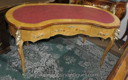 French Empire Satinwood Kidney Desk Bureau Plat