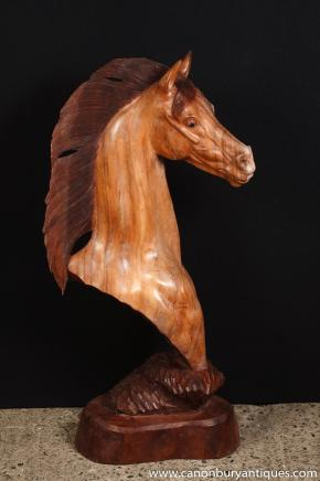 Hand Carved Italian Horse Bust Sculpture Horses Pony