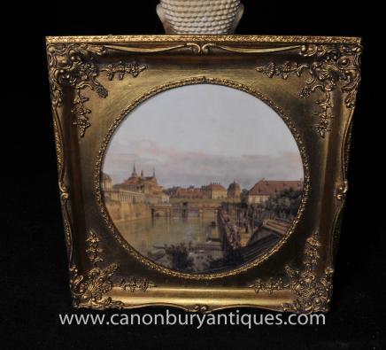 Italian Oil Painting Venetian Landscape River Scene Art