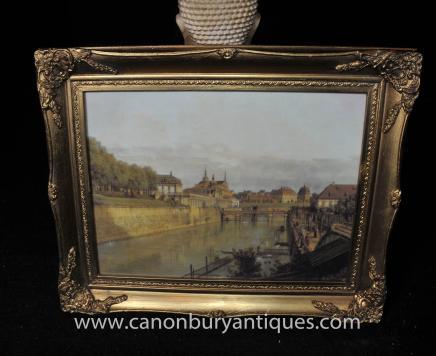Italian Oil Painting Ventian River Landscape Scene Gilt Frame Venice