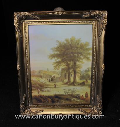 Italian Tuscan Oil Painting Pastoral Landscape Gilt Frame