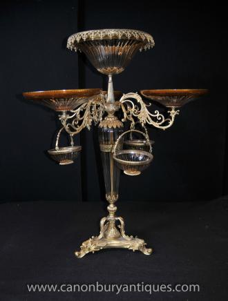 Large Empire Glass Centrepiece Epergne Dish Bowl Ormolu Stand French