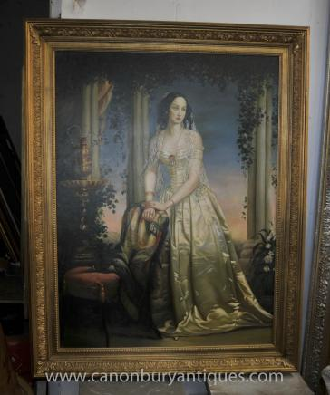 Large English Oil Painting Georgian Lady Classic Portrait