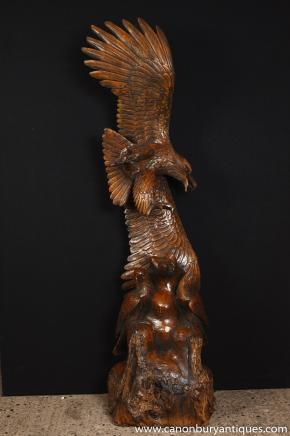 Large Hand Carved Oak American Eagle Statue Bird Prey Bald