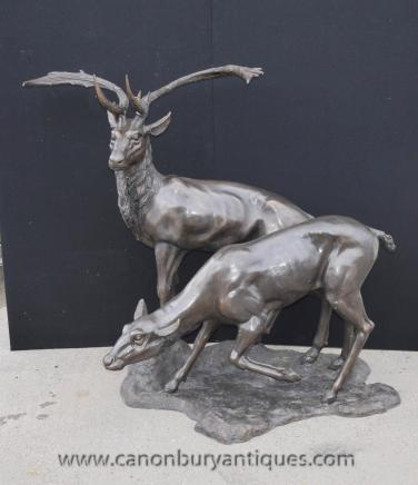 Lifesize Bronze Deer and Stag Family Statue Roe Casting